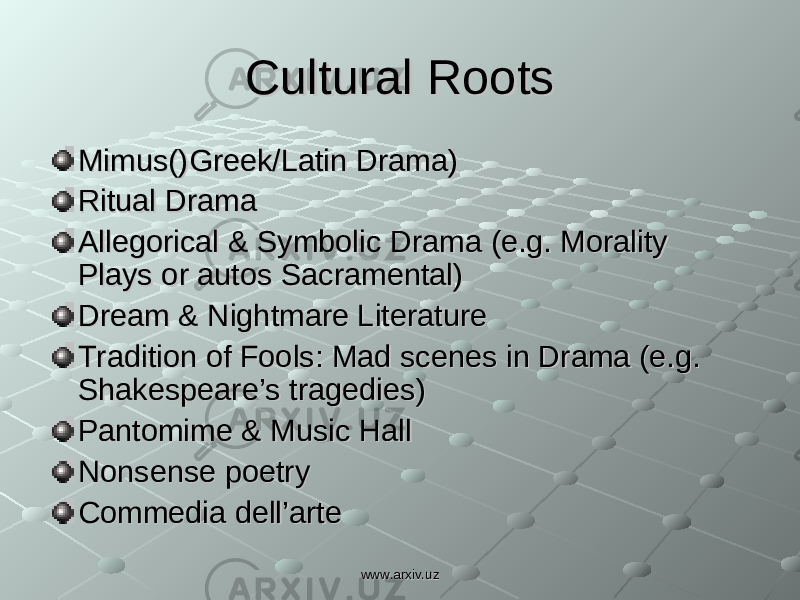 Cultural RootsCultural Roots Mimus()Greek/Latin Drama)Mimus()Greek/Latin Drama) Ritual DramaRitual Drama Allegorical & Symbolic Drama (e.g. Morality Allegorical & Symbolic Drama (e.g. Morality Plays or autos Sacramental)Plays or autos Sacramental) Dream & Nightmare LiteratureDream & Nightmare Literature Tradition of Fools: Mad scenes in Drama (e.g. Tradition of Fools: Mad scenes in Drama (e.g. Shakespeare's tragedies)Shakespeare's tragedies) Pantomime & Music HallPantomime & Music Hall Nonsense poetryNonsense poetry Commedia dell'arteCommedia dell'arte www.arxiv.uzwww.arxiv.uz
