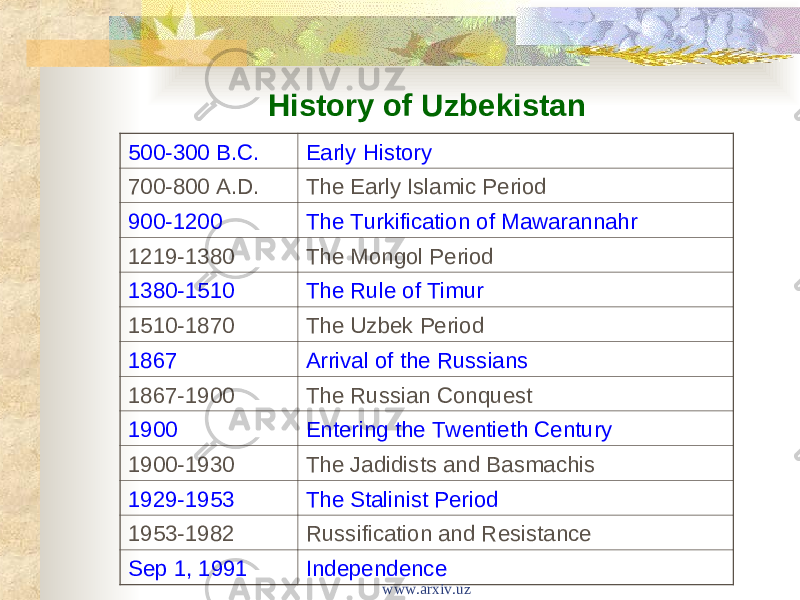 History of Uzbekistan 500-300 B.C. Early History 700-800 A.D. The Early Islamic Period 900-1200 The Turkification of Mawarannahr 1219-1380 The Mongol Period 1380-1510 The Rule of Timur 1510-1870 The Uzbek Period 1867 Arrival of the Russians 1867-1900 The Russian Conquest 1900 Entering the Twentieth Century 1900-1930 The Jadidists and Basmachis 1929-1953 The Stalinist Period 1953-1982 Russification and Resistance Sep 1, 1991 Independence www.arxiv.uz