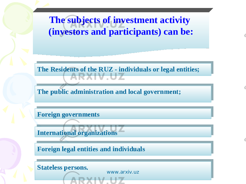 The subjects of investment activity (investors and participants) can be: The Residents of the RUZ - individuals or legal entities; The public administration and local government; Foreign governments International organizations Foreign legal entities and individuals Stateless persons. www.arxiv.uz 1B 1B 240E 0102 240E 26