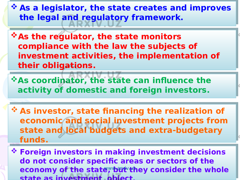  As the regulator, the state monitors compliance with the law the subjects of investment activities, the implementation of their obligations.  As coordinator, the state can influence the activity of domestic and foreign investors.  As a legislator, the state creates and improves the legal and regulatory framework.  As investor, state financing the realization of economic and social investment projects from state and local budgets and extra-budgetary funds.  Foreign investors in making investment decisions do not consider specific areas or sectors of the economy of the state, but they consider the whole state as investment object. www.arxiv.uz 01 12 0A 0B 0615 01 12 090A06 01 12 0615 01 12 04 050609 18 01 32 0C 04 0506