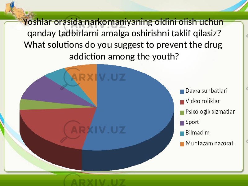 Yoshlar orasida narkomaniyaning oldini olish uchun qanday tadbirlarni amalga oshirishni taklif qilasiz ? What solutions do you suggest to prevent the drug addiction among the youth?